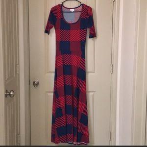 LULAROE ANA UNICORN Red Blue Maxi Dress sz XS